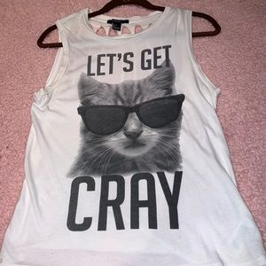 """Funny White """"Let's Get Cray"""" Cat Tank Top"""